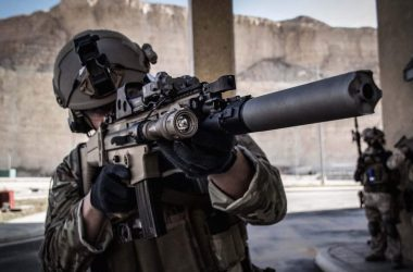 Belgian Special Forces Group (SFG) operator with the SCAR rifle in Jordan, pictured in November 2014
