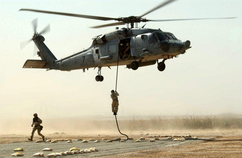 Fast rope from Blackhawk helicopter during Operation Enduring Freedom