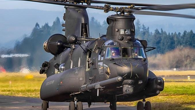 The distinctive black MH-47G Chinook special operations helicopter. The 160th SOAR (A) Night stalkers are the only unit in the world to operate this helicopte