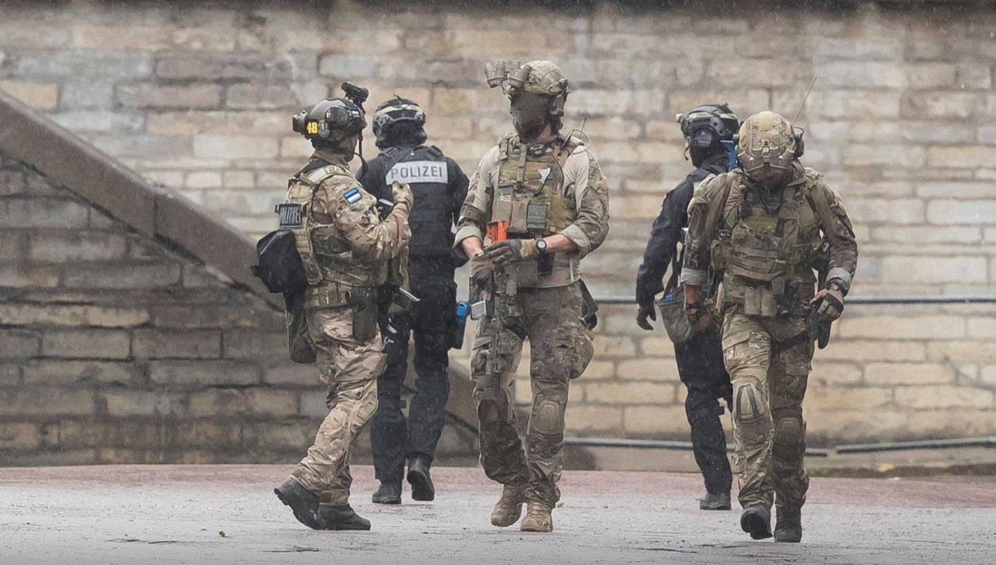 Operators from the Estonian K-Commando, American FBI Hostage Rescue Team and Austrian EKO Cobra during the international exercise ATHOS 2016