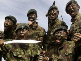 British gurkha regiment posing for picture with khukri knife