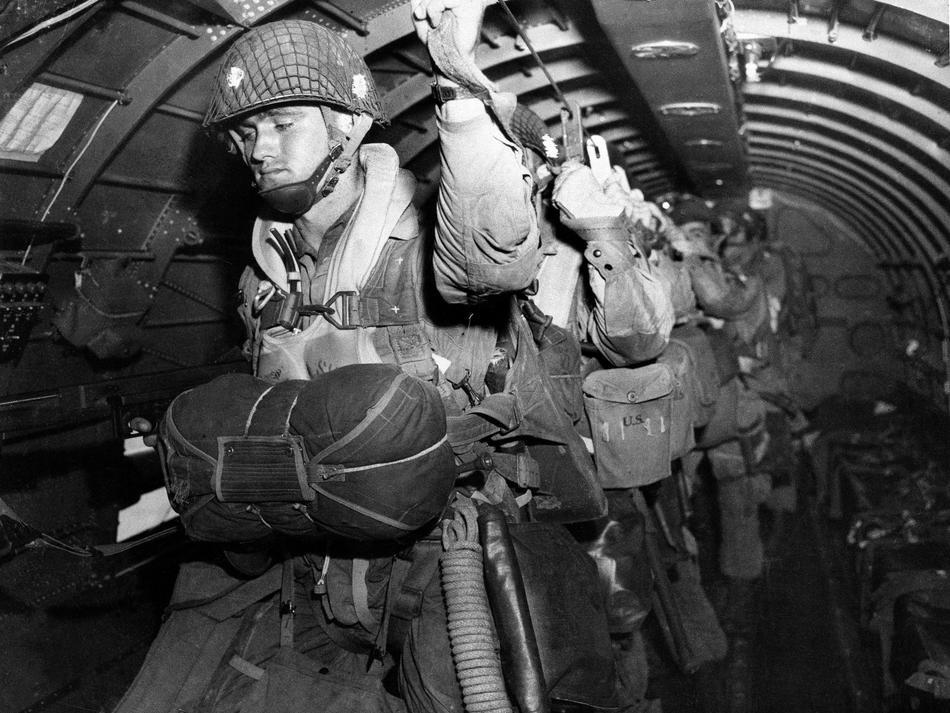 82nd Airborne Division paratroopers over Normandy