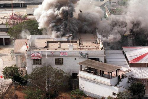 Operation Chavin de Huantar: Japanese Ambassador's residence engulfed in flames in Lima, Peru during hostage rescue operation