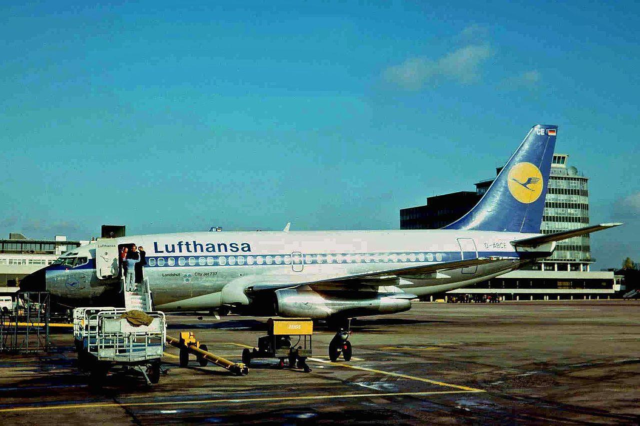 Hijacking of Lufthansa Flight 181: D-ABCE, the aircraft involved in the hijacking, pictured at Manchester Airport in 1975