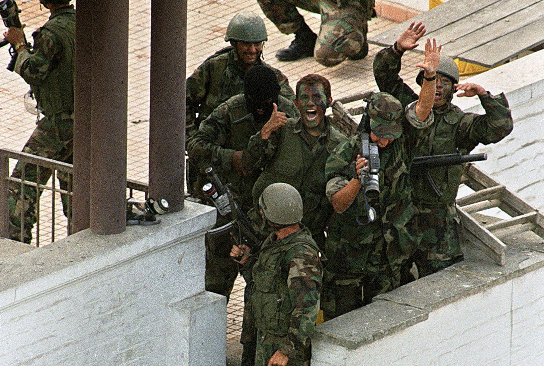 Peruvian SOF celebrating victory after successfully conducted Operation Chavin de Huantar and rescued more than 70 hostages in Japanese Ambassadors residence in Lima, Peru on April 22, 1997