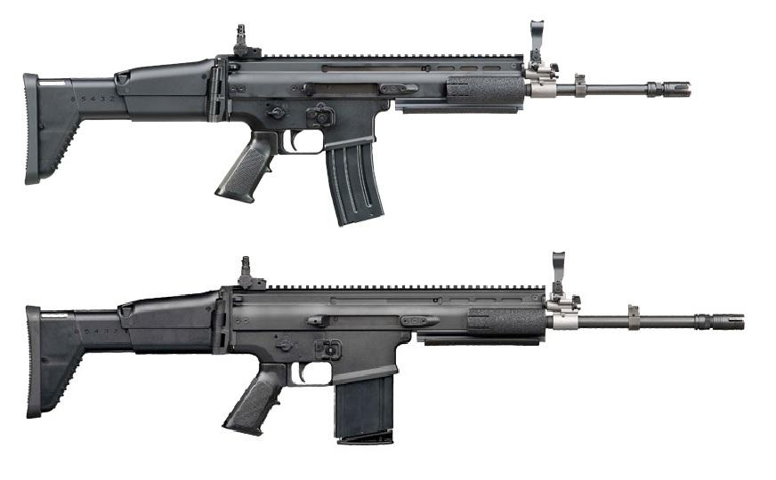 FN SCAR-L in 5.56 mm caliber and FN SCAR-H chambered in 7.62 mm caliber