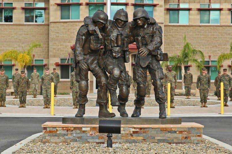 No Man Left Behind sculpture in Camp Lejeune