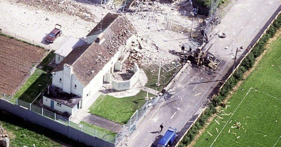 A scene of the failed Loughgall attack where a complete IRA unit was killed by SAS