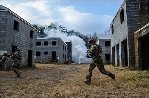 FBI HRT operators participate in an urban assault training exercise