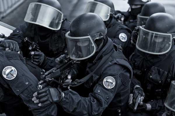 French GIGN operator brandishing his gear and equipment during the training