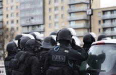 French Nationale Police RAID assault group during operation in Paris