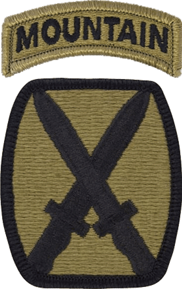 10th Mountain Division insignia and the Mountain Tab only issued to the 10th Mountain soldiers