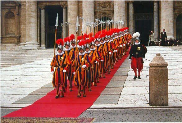 Group of Pontifical Swiss Guard in front of the St. Peter's Basilica