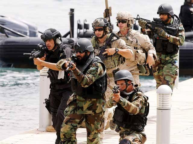 Pakistan SSG (Special Services Group) members during the Joint exercise with members of US Army Special Forces