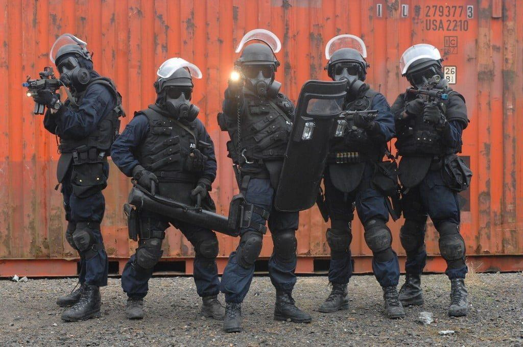 Irish Army Ranger Wing brandishing their weapon and Avon tactical mask