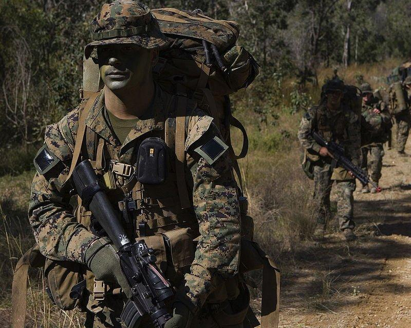 Marines wearing the full combat gear during the exercise Talisman Saber in 2007