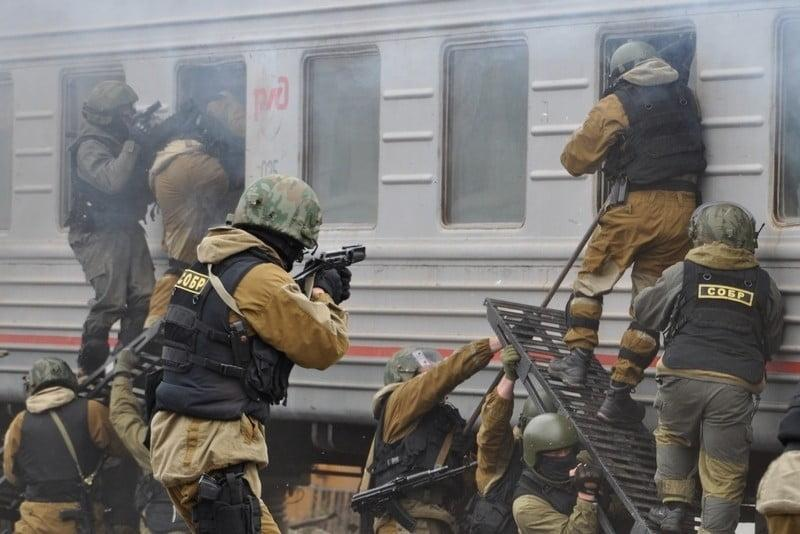 Spetsnaz SOBR during the training exercise