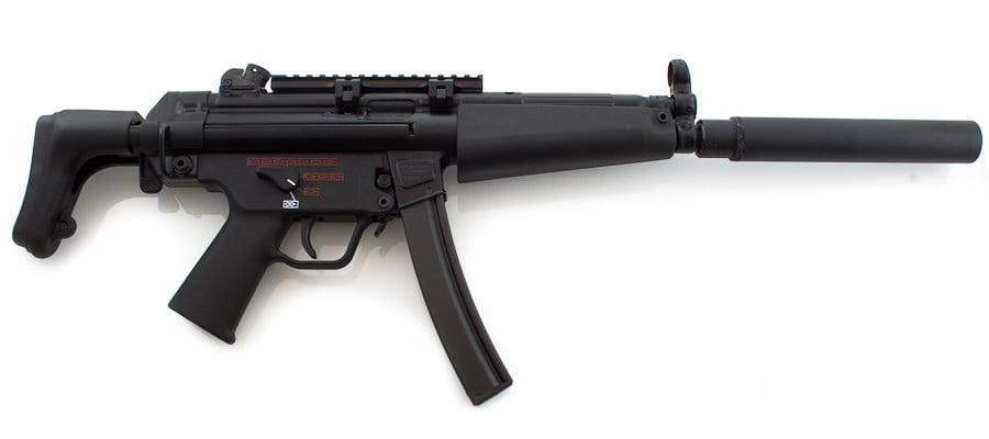 Heckler and Koch MP5 submachine gun with a silencer attached HK MP5