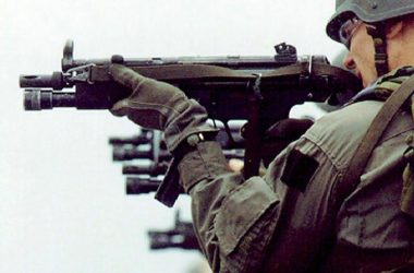 SWAT squad at shooting ringe firing from Heckelr and Koch MP5