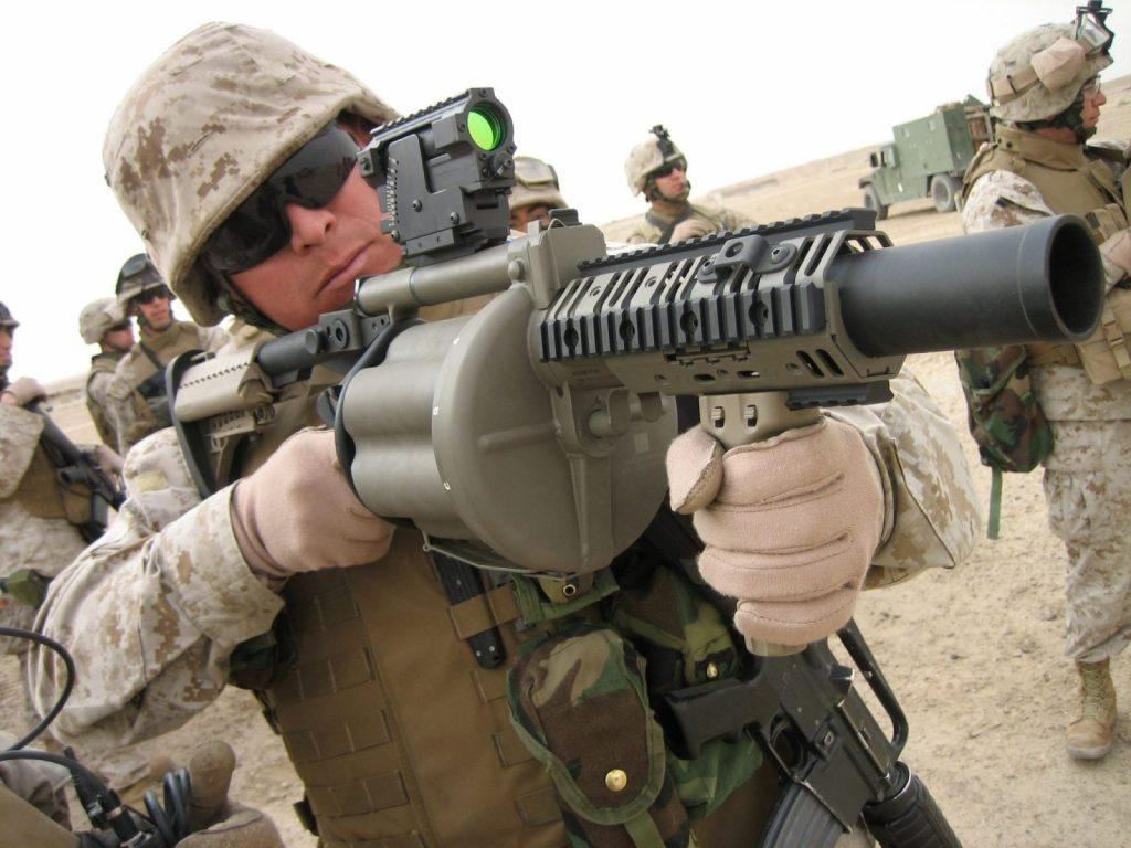 M-32 Multiple shot Grenade Launcher, an experimental six-barreled weapn that can deliver six 40 mm grenades in under three seconds.