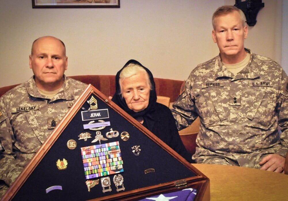 U.S. Military officials visiting Ivica Jerak's mother in 2012
