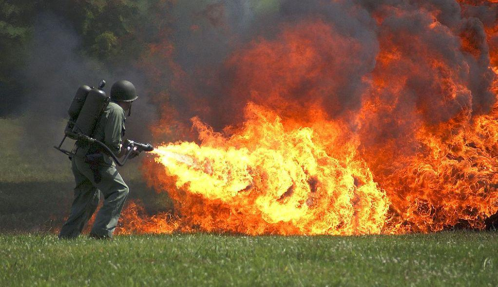 Flamethrower is among weapons banned by the Geneva Convention