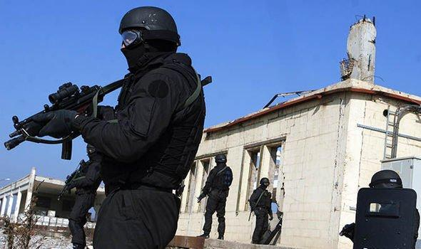 Kosovo's Special Intervention Unit (SIU) operators during the tactical training near their headquarters in Prishtina