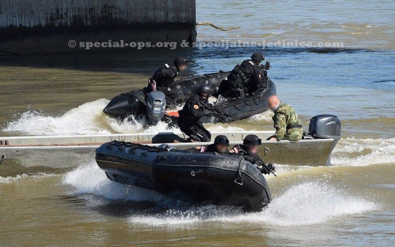 Members of Gendarmerie operating speed boats during the training exercise DRINA 2016