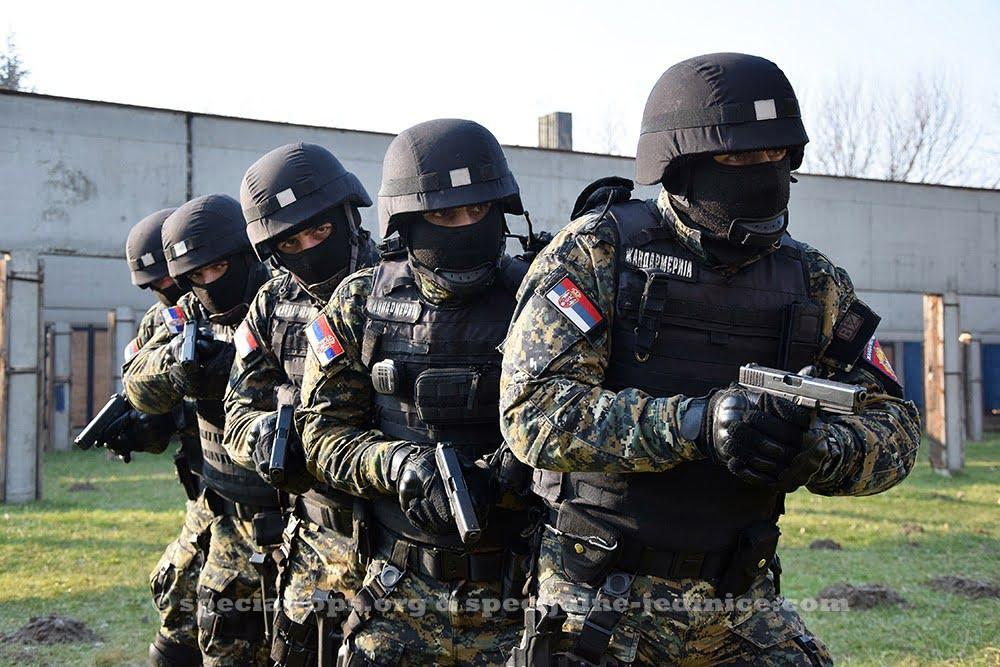 Serbian Gendarmerie operators in the stack during the training