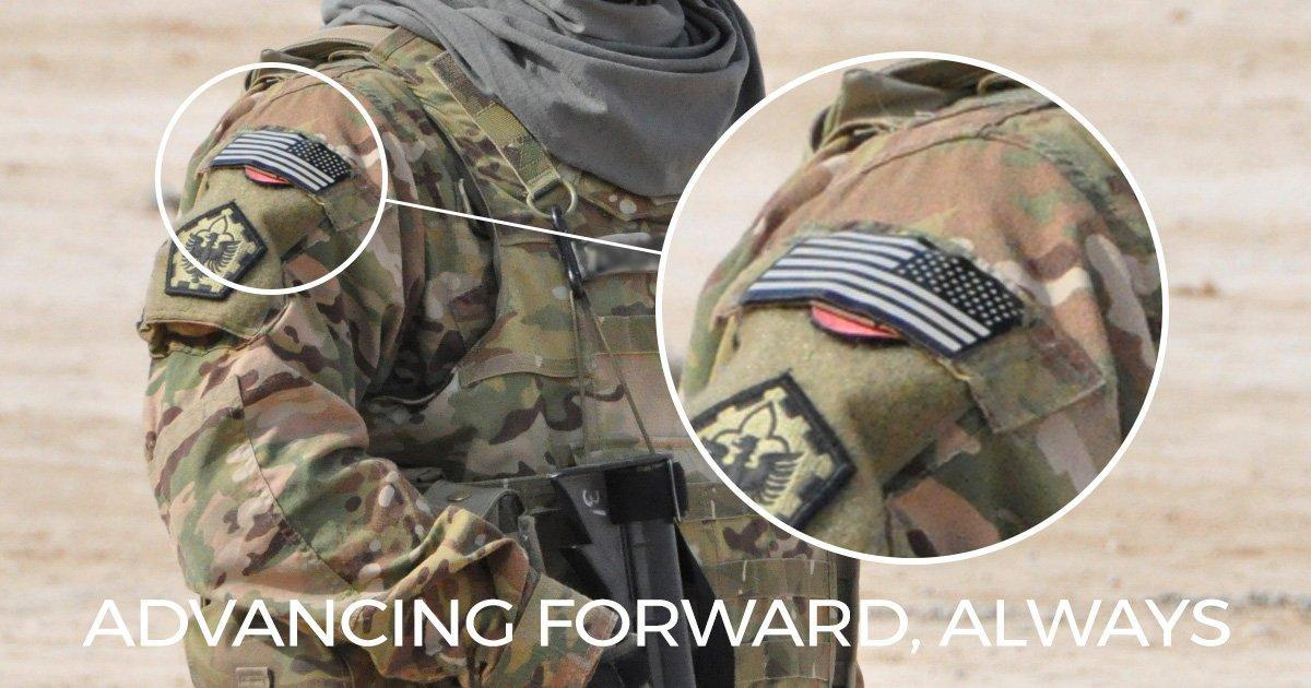 The flag patch on U.S. Military uniforms is advancing forward always