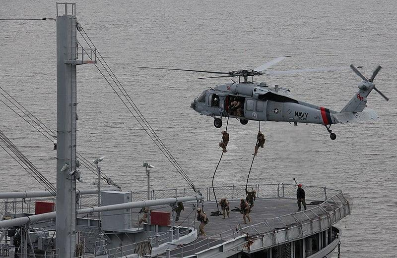 fast rope cargo ship - British Special Boat Service Stormed Hijacked Cargo Ship