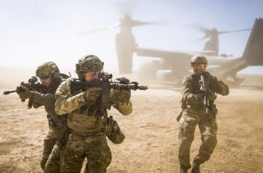 A joint special forces team move together out of a U.S. Air Force CV-22 Osprey Feb. 26, 2018, at Melrose Training Range, New Mexico. At Emerald Warrior, the largest joint and combined special operations exercise, U.S. Special Operations Command forces train to respond to various threats across the spectrum of conflict.
