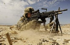 A US army soldier and his M249 SAW