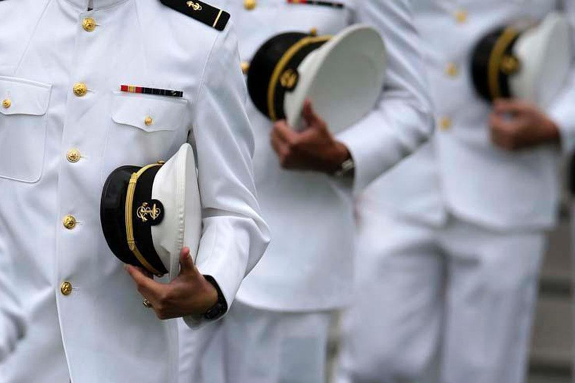 U.S. Navy SEALs in their ceremony uniforms