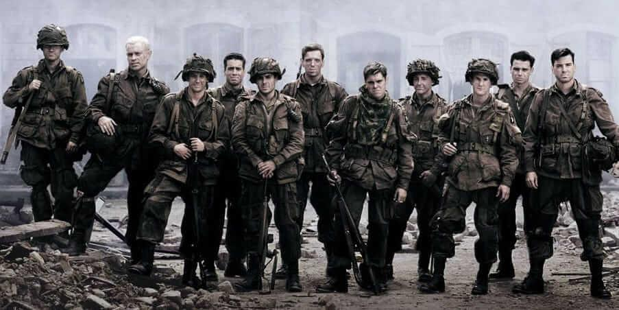 Band of Brothers soldiers standing in front