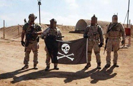 Blue Squadron operators brandishing flag - Development Group (Seal Team 6)