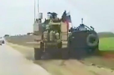 Road Rage US Armored Vehicle drive off Russian GAZ Tigr off the road