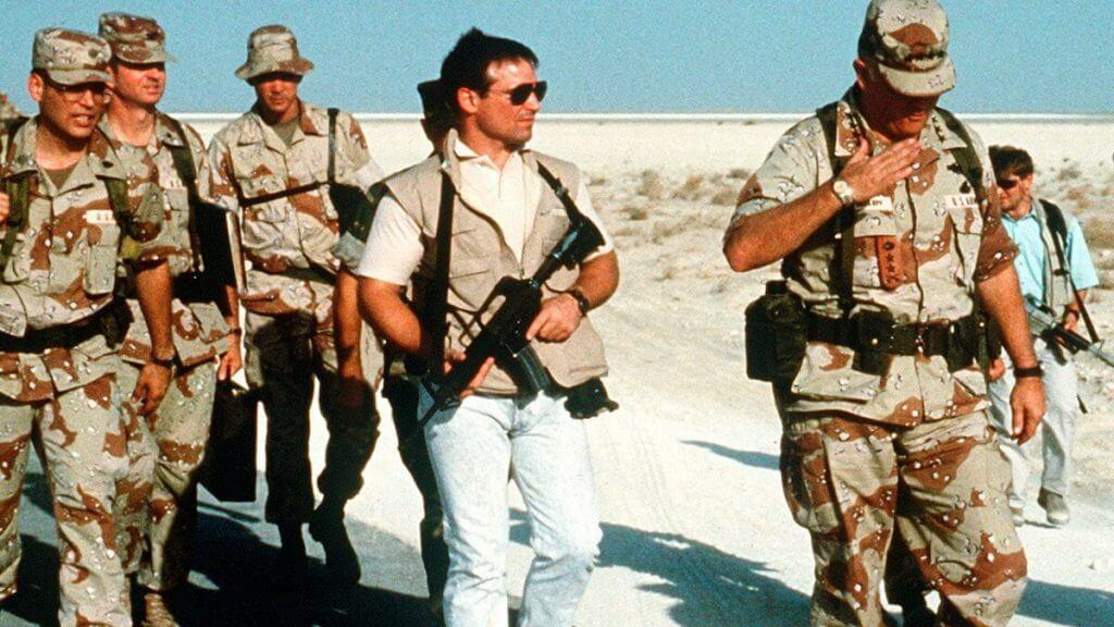 A Delta Force operator wielding a CAR-15 while serving on Gen. Norman Schwarzkopf's protective detail during the Persian Gulf War.