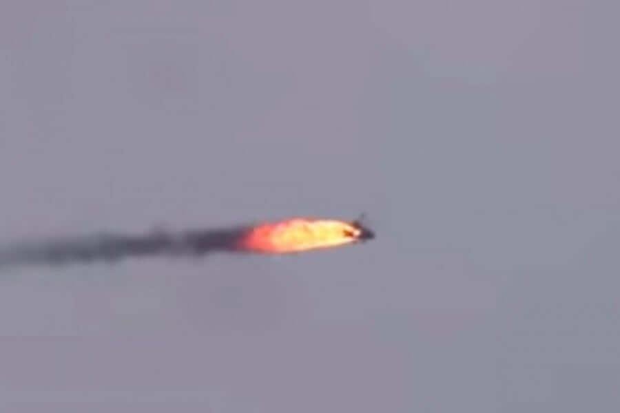 Syrian Air Force helicopter engulfed in flames after has been shoot with ground-to-air missile
