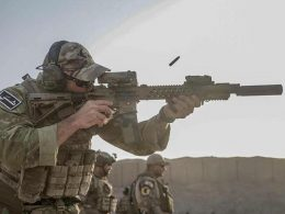 U.S. Army Special Forces Green Beret firing from M4 in Afghanistan