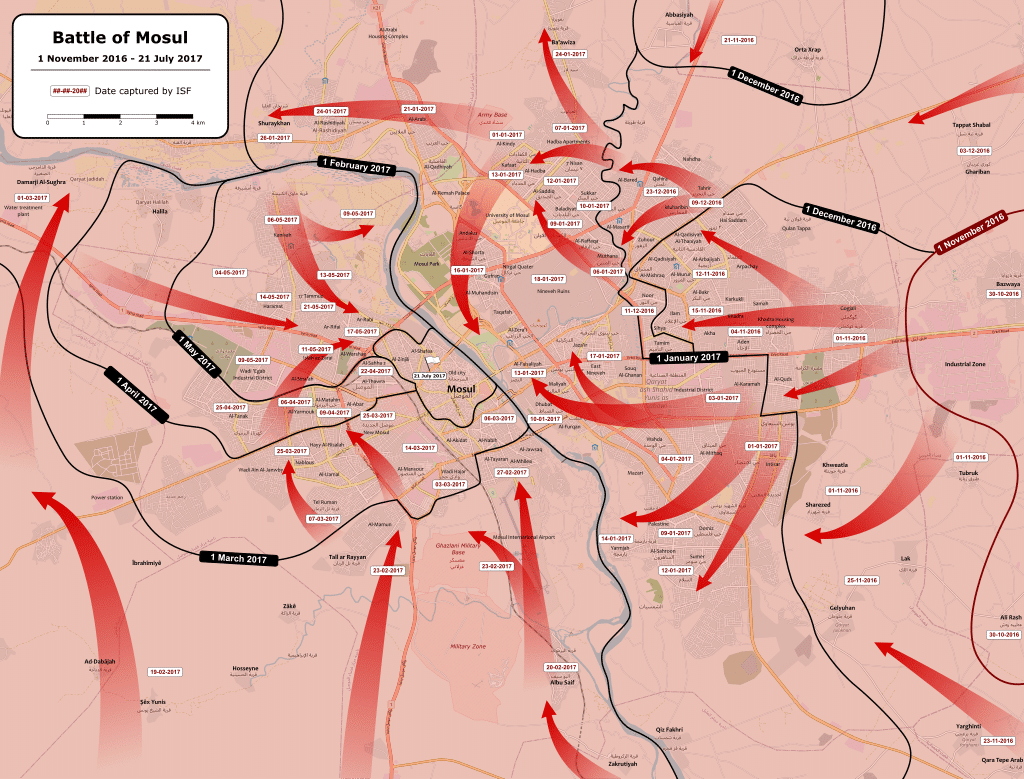 Battle of Mosul map showing the moving of the Iraqi and Peshmerga forces