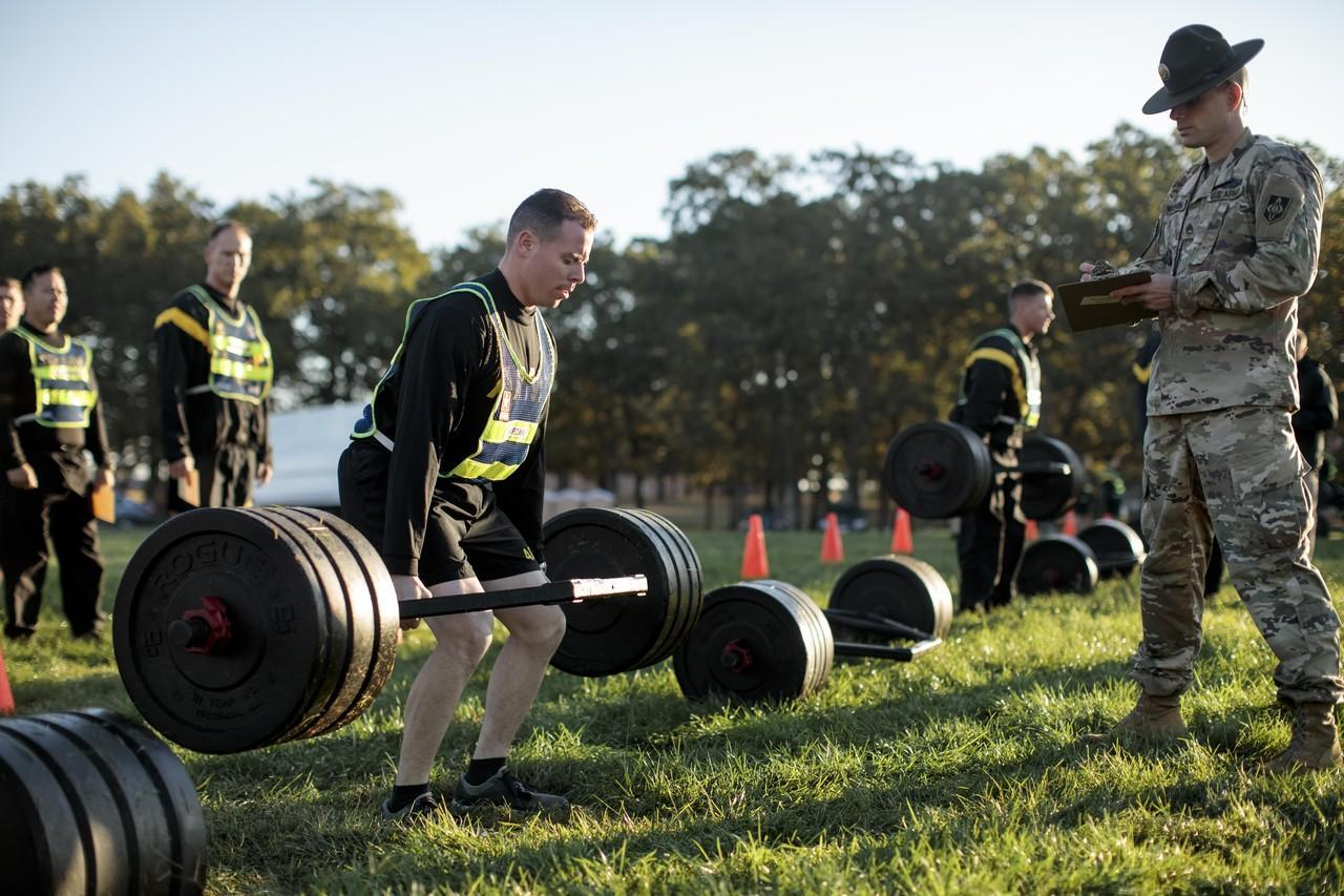A soldier performing deadlift - military fitness