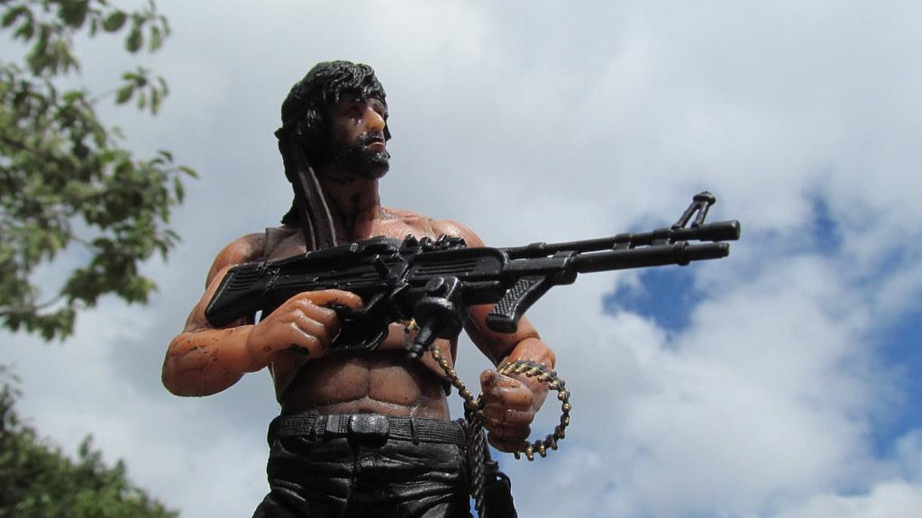 John Rambo with M60 machine gun
