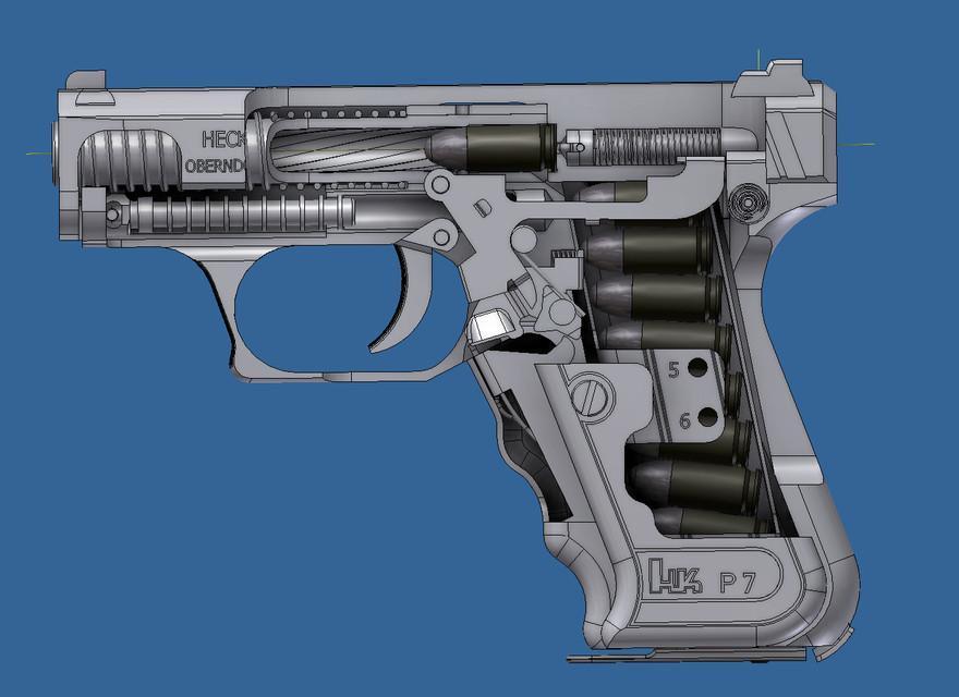 Heckler & Koch P7 in 3D CAD