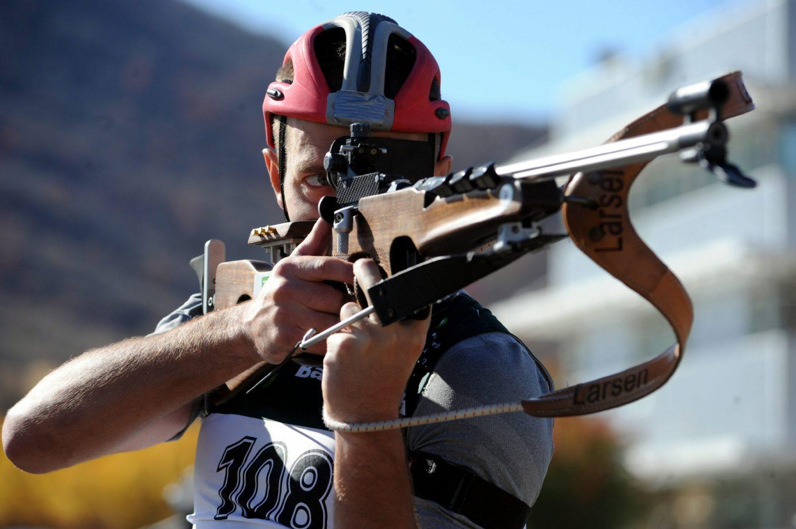 U.S. Army World Class Athlete Program biathlete Sgt. Jeremy Teela, a three-time Olympian, practices shooting from the standing position