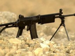 IMI Galil ARM chambered in 5.56 mm with bipod deployed