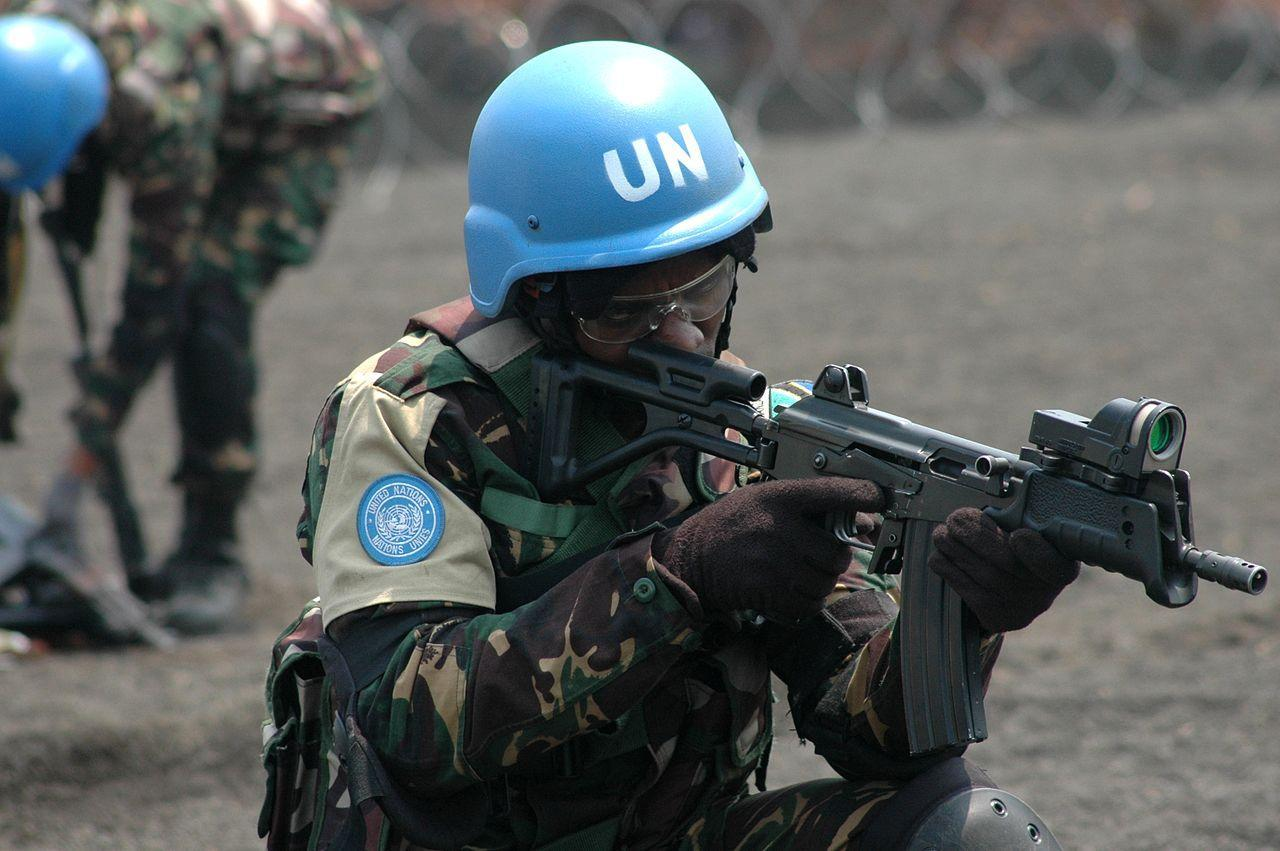 UN peacekeeper in Africa armed with a Galil MAR