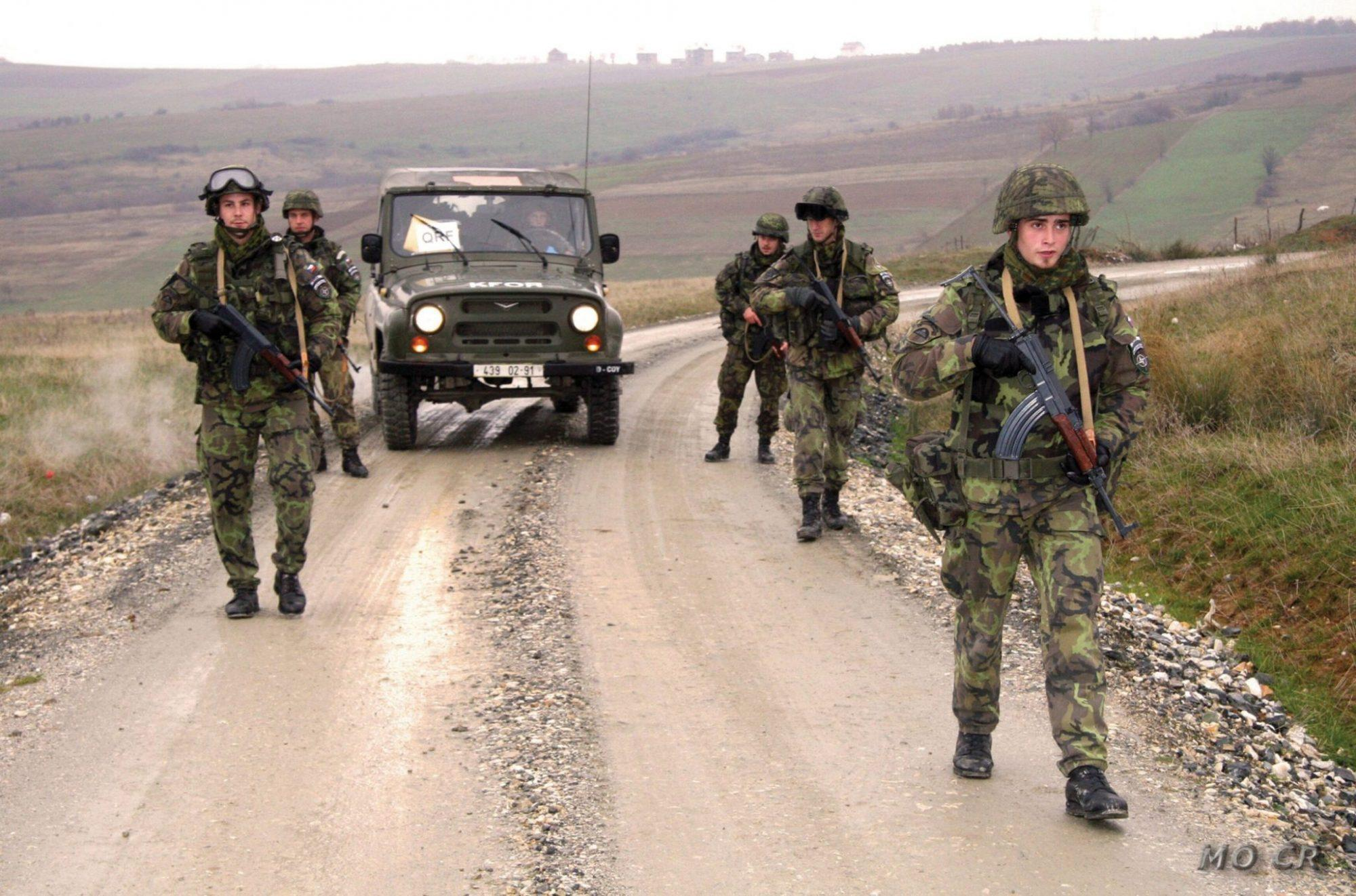 Members of the Czech Army patroling in Kosovo as part of KFOR mission. Soldiers are armed with vz. 58 assault rifles