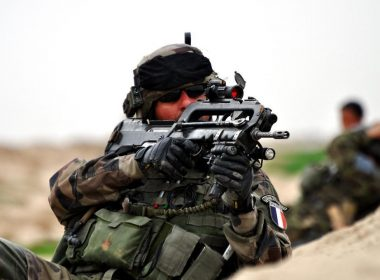 French soldier armed with FAMAS bullpup assault rifle