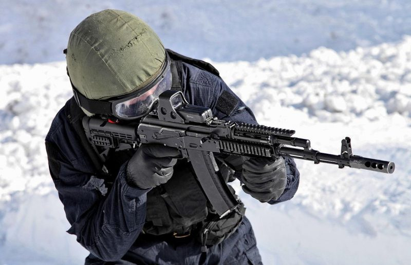 A modernized AK-74 displayed in 2013 by Internal troops special units